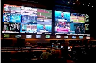Nanolumens LED Display installed at Red Rock by NTA.   Displaying Live iCandy Sports Content